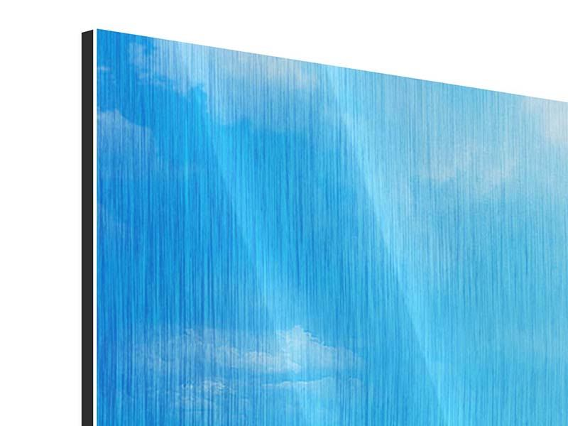 Metallic-Bild 3-teilig modern Sanfte Strandwellen
