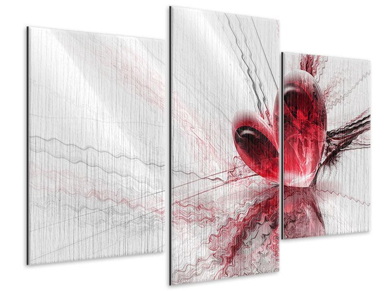 Metallic-Bild 3-teilig modern Herzspiegelung