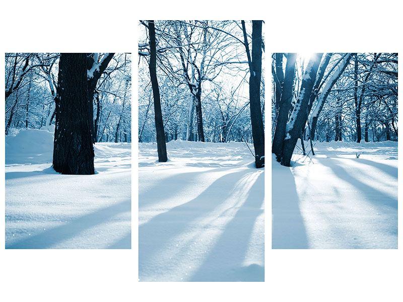 Metallic-Bild 3-teilig modern Der Wald ohne Spuren im Schnee