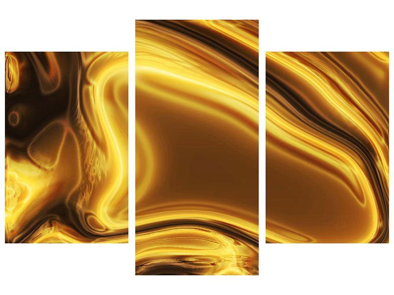 Metallic-Bild 3-teilig modern Abstrakt Flüssiges Gold