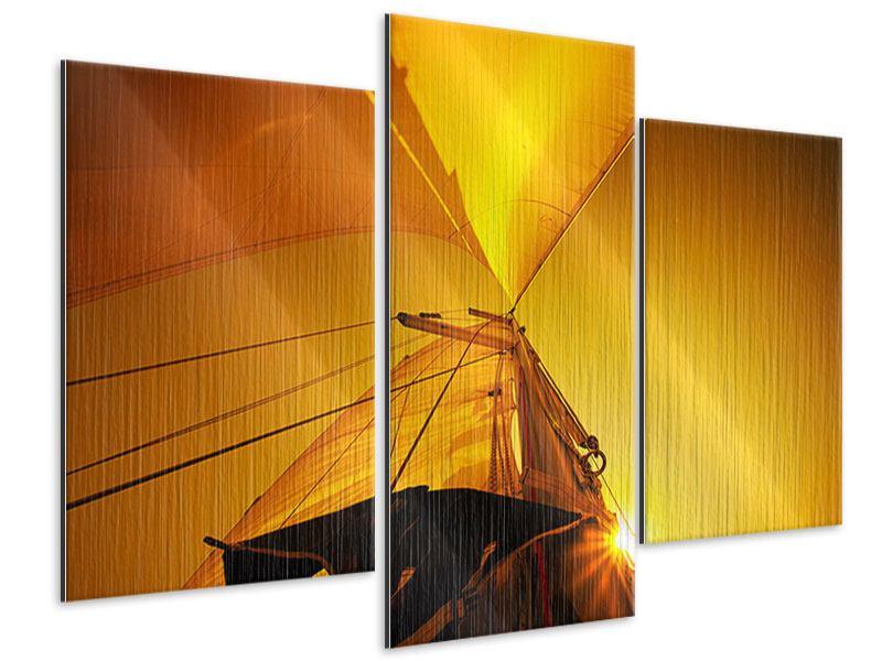 Metallic-Bild 3-teilig modern Segelboot im Sonnenuntergang