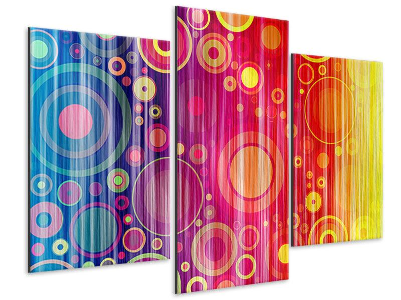Metallic-Bild 3-teilig modern Grunge-Retrokreise