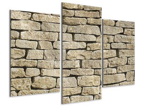 Metallic-Bild 3-teilig modern Alte Mauer