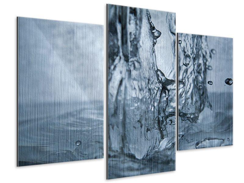 Metallic-Bild 3-teilig modern Wasserdynamik