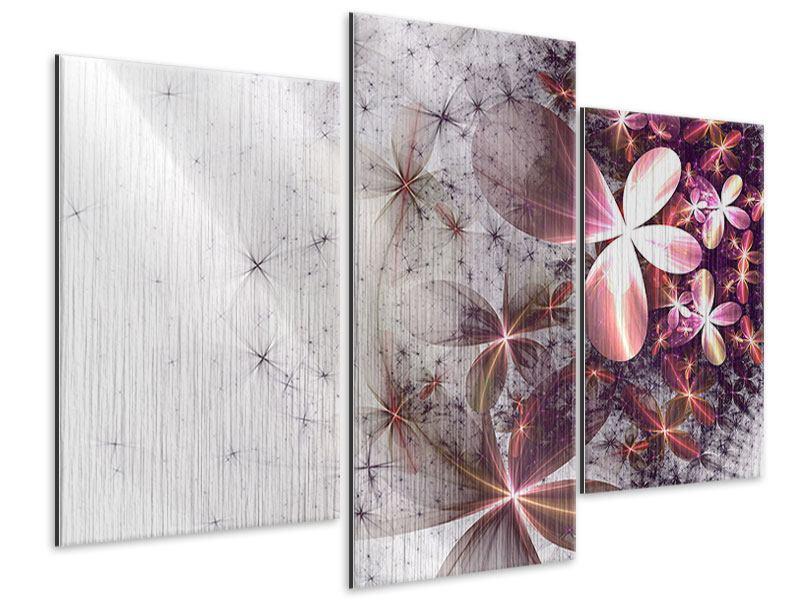 Metallic-Bild 3-teilig modern Abstrakte Blumen