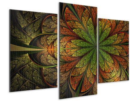 Metallic-Bild 3-teilig modern Abstraktes Blumenmuster