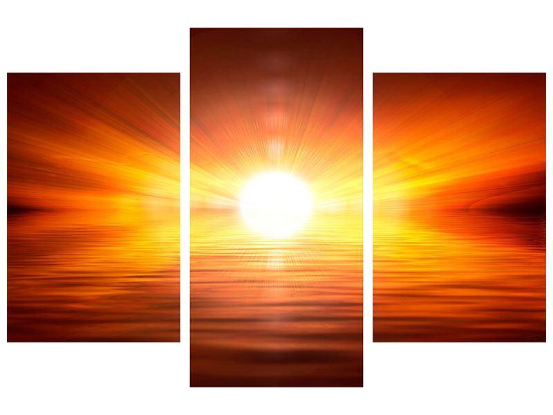 Metallic-Bild 3-teilig modern Glühender Sonnenuntergang