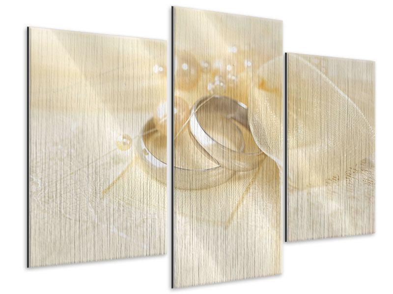 Metallic-Bild 3-teilig modern Trauringe
