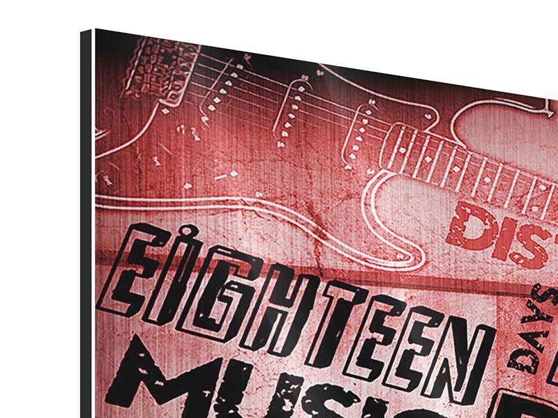 Metallic-Bild 3-teilig modern Writings Music Grunge
