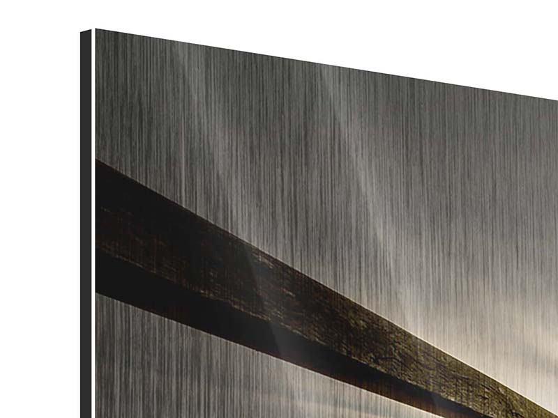 Metallic-Bild 3-teilig modern Die Holzbrücke