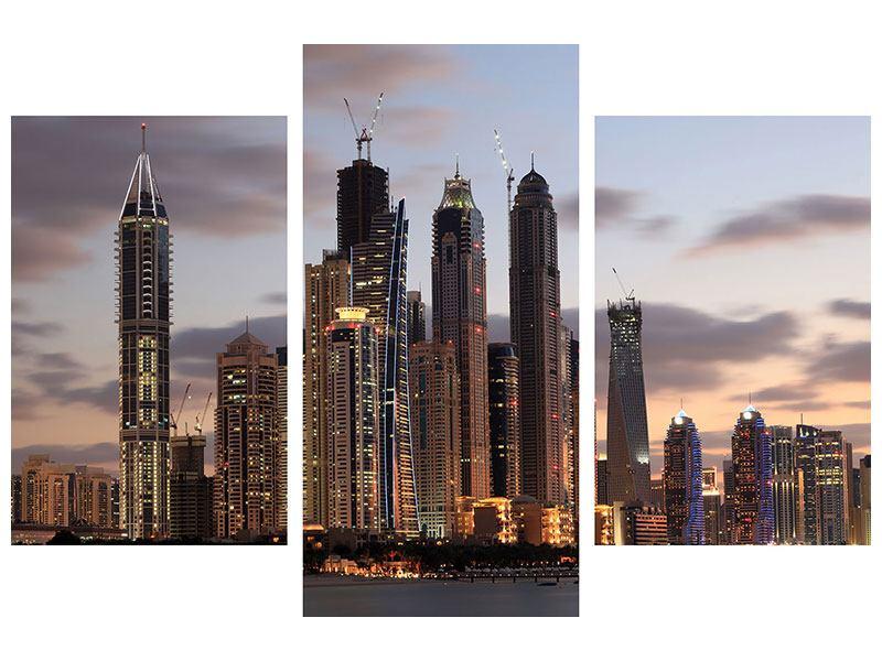 Metallic-Bild 3-teilig modern Skyline Dubai bei Sonnenuntergang