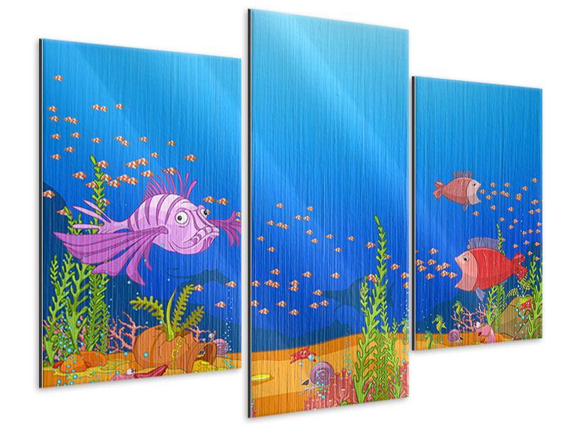 Metallic-Bild 3-teilig modern Der Schatz unter Wasser