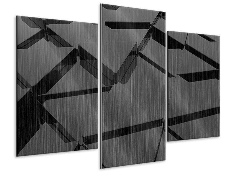 Metallic-Bild 3-teilig modern 3D-Dreiecksflächen