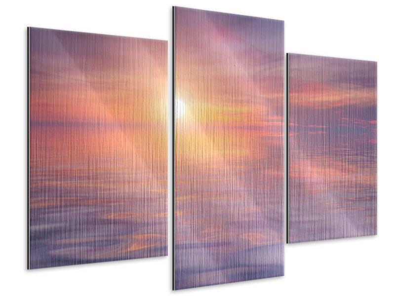 Metallic-Bild 3-teilig modern Sonnenuntergang auf See