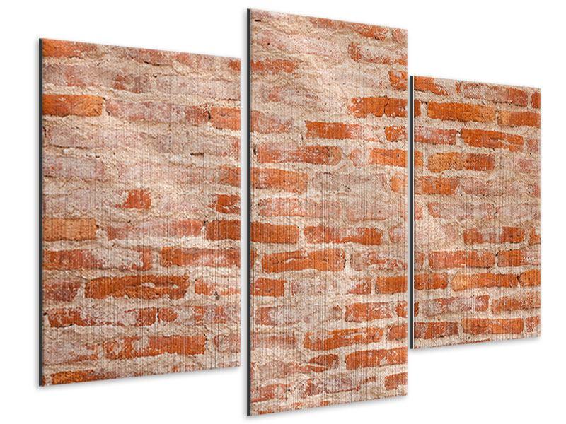 Metallic-Bild 3-teilig modern Mauerwerk