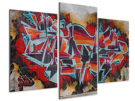 Metallic-Bild 3-teilig modern New York Graffiti