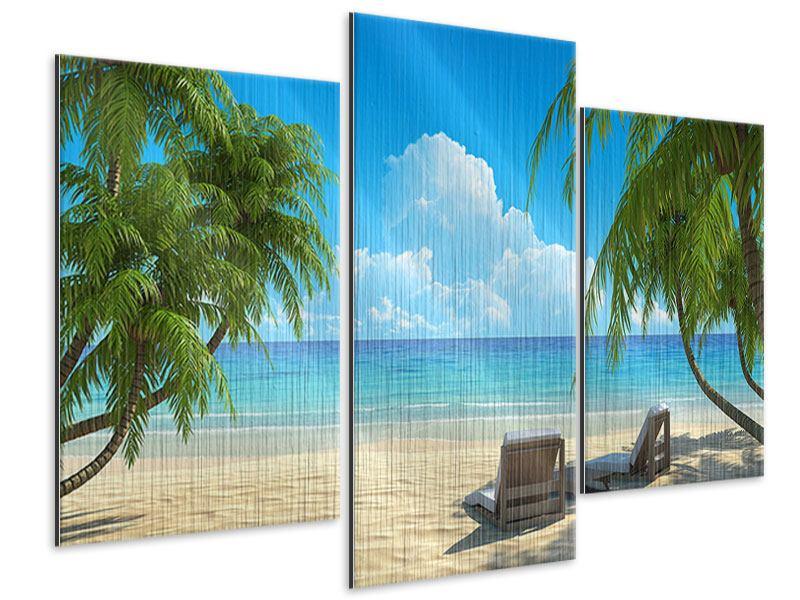 Metallic-Bild 3-teilig modern Strandparadies