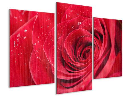 Metallic-Bild 3-teilig modern Rote Rose im Morgentau