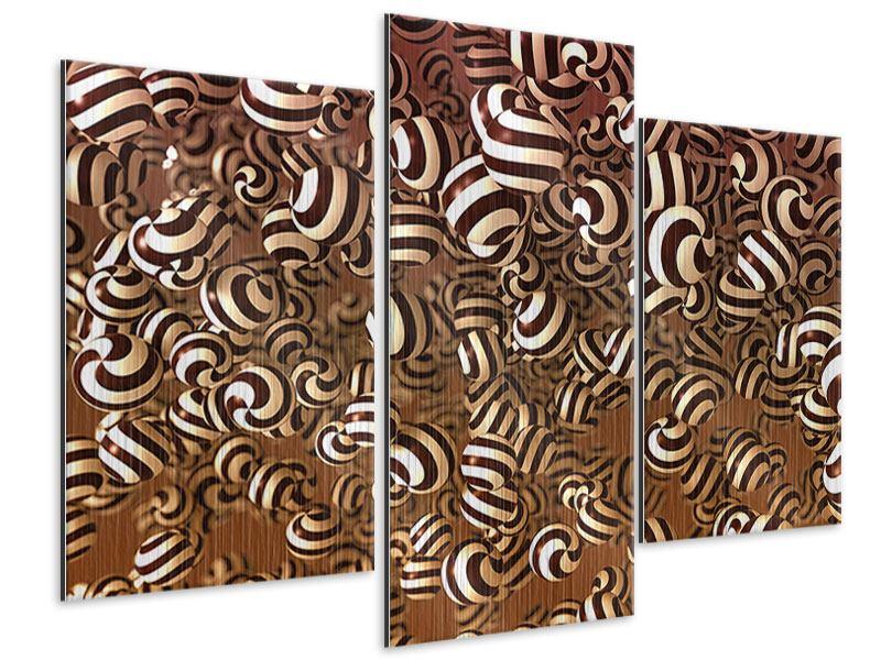 Metallic-Bild 3-teilig modern Schokoladen-Bonbons