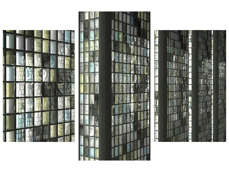Metallic-Bild 3-teilig modern Windows