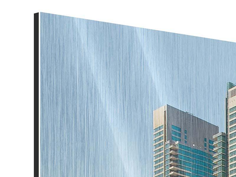 Metallic-Bild 3-teilig modern Spektakuläre Wolkenkratzer Dubai
