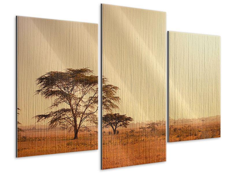 Metallic-Bild 3-teilig modern Weideland in Kenia