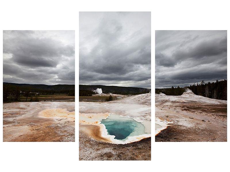 Metallic-Bild 3-teilig modern Vulkan