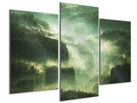 Metallic-Bild 3-teilig modern Über den Wäldern