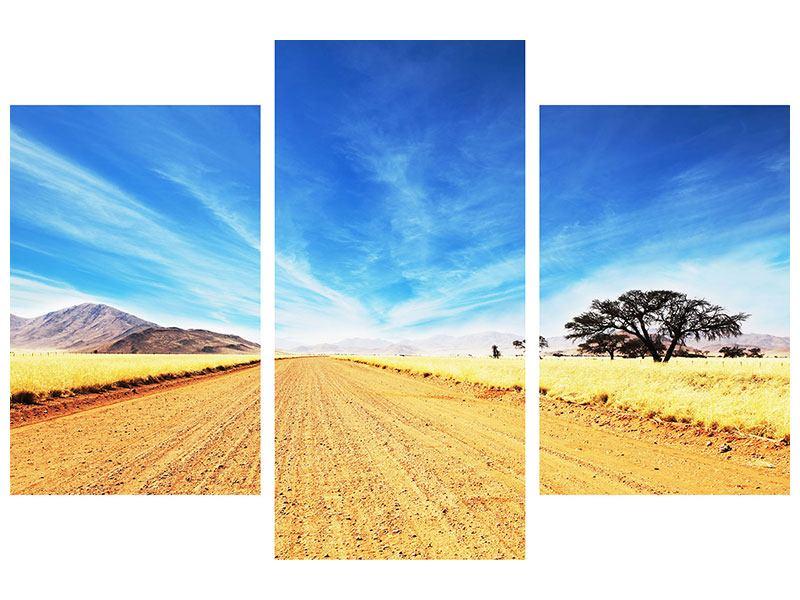 Metallic-Bild 3-teilig modern Eine Landschaft in Afrika
