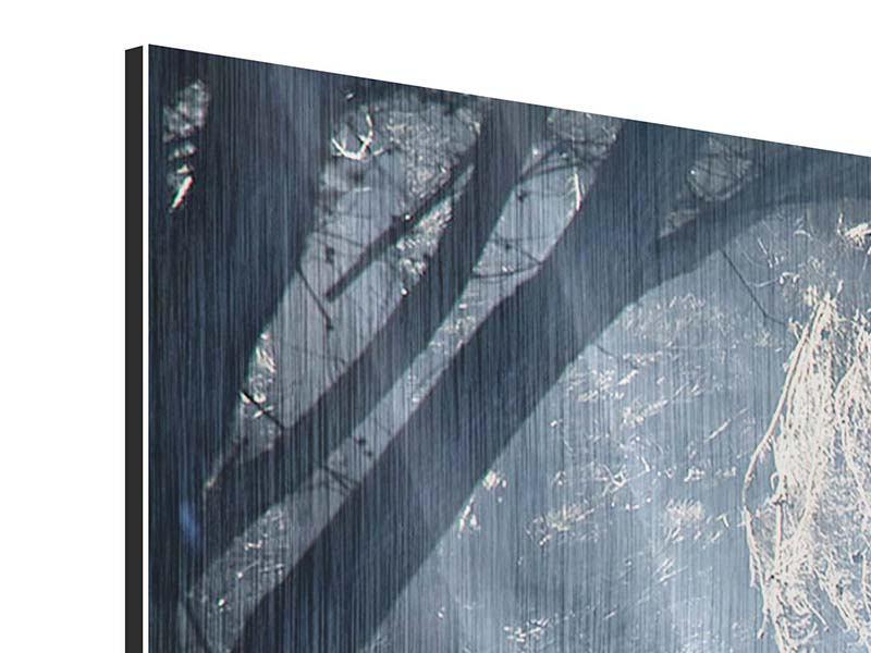 Metallic-Bild 3-teilig modern Lichtdurchflutete Baumallee