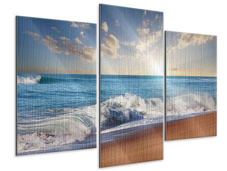 Metallic-Bild 3-teilig modern Die Wellen des Meeres