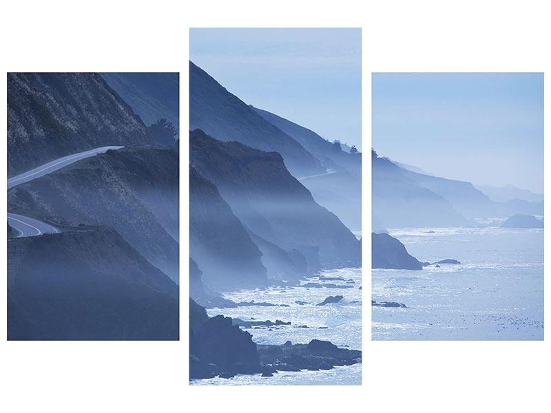 Metallic-Bild 3-teilig modern Bewegung im Wasser