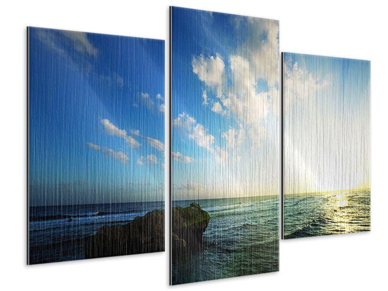 Metallic-Bild 3-teilig modern Die See