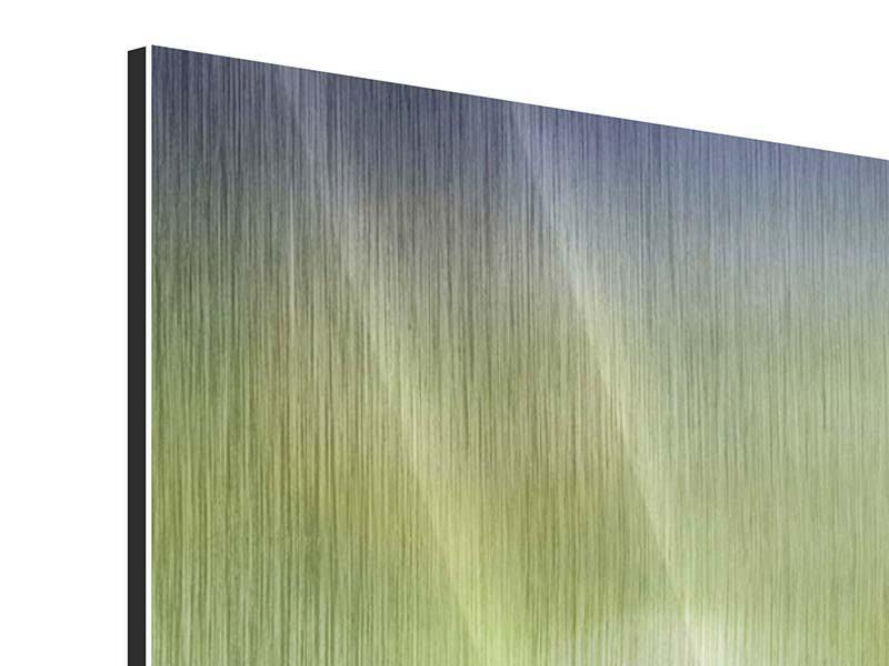 Metallic-Bild 3-teilig modern Die Blütenknospe
