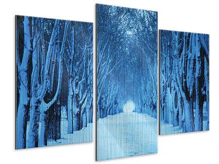 Metallic-Bild 3-teilig modern Winterbäume