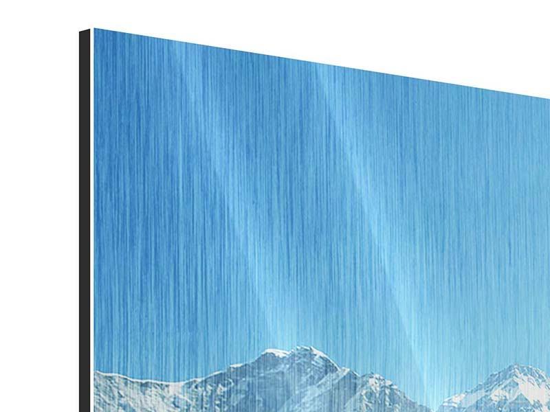 Metallic-Bild 3-teilig modern Das Himalaya-Gebirge