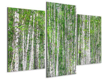 Metallic-Bild 3-teilig modern Der Birkenwald
