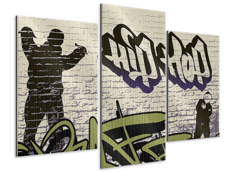 Metallic-Bild 3-teilig modern Graffiti Hip Hop
