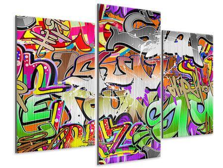 Metallic-Bild 3-teilig modern Writings