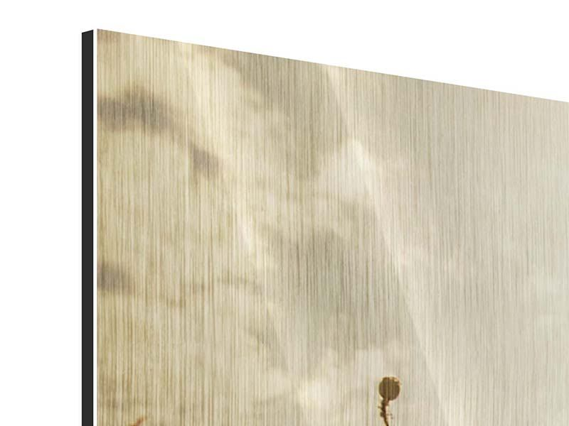 Metallic-Bild 3-teilig modern Das Mohnfeld bei Sonnenaufgang