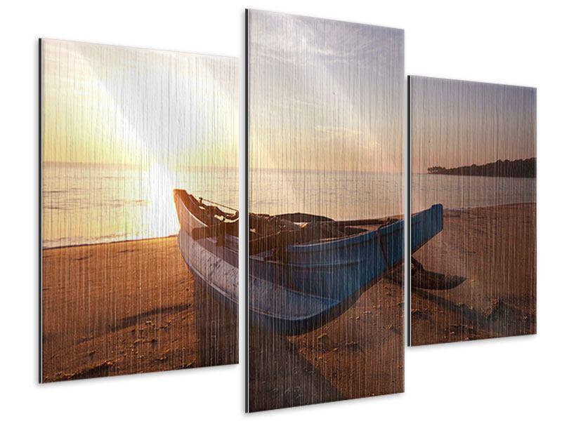Metallic-Bild 3-teilig modern Das gestrandete Boot