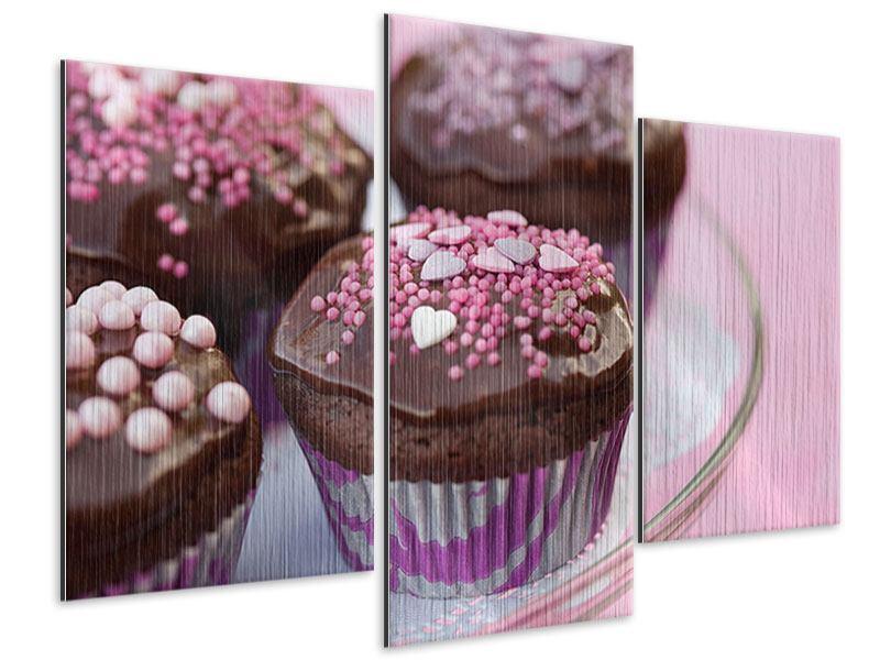 Metallic-Bild 3-teilig modern Muffins