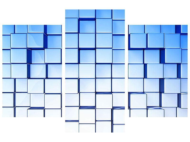 Metallic-Bild 3-teilig modern 3D-Symetrie