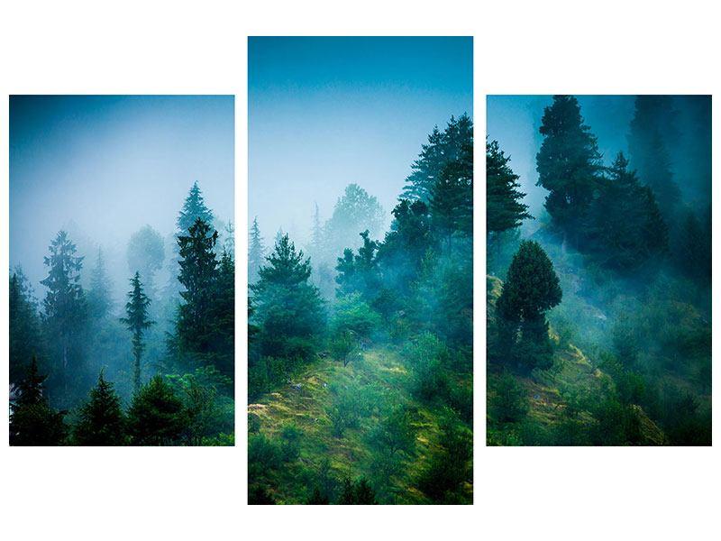 Metallic-Bild 3-teilig modern Geheimnisvoller Wald