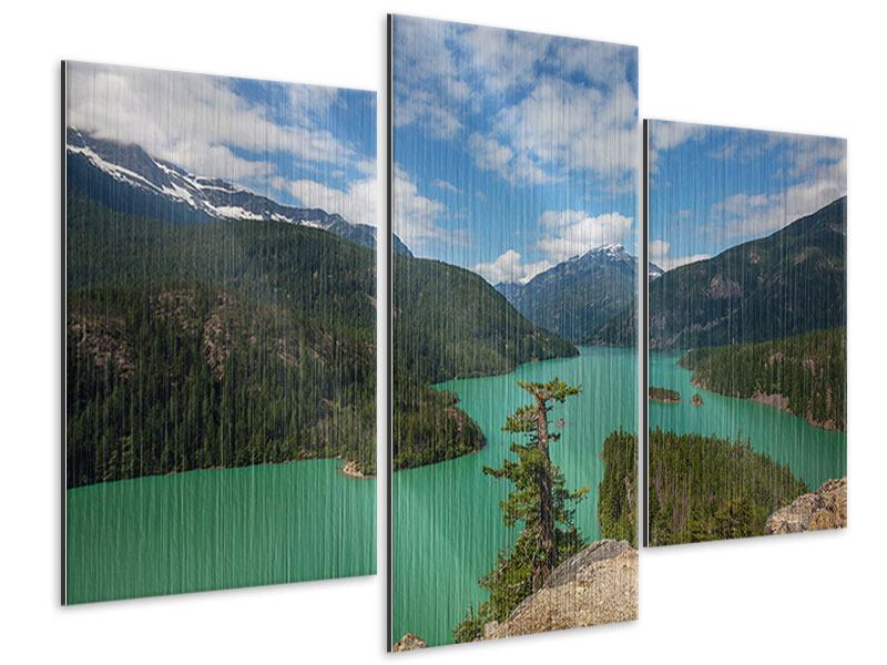 Metallic-Bild 3-teilig modern Diablo Bergsee