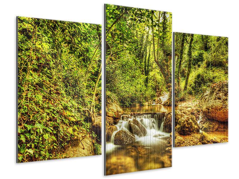 Metallic-Bild 3-teilig modern Wasserfall im Wald