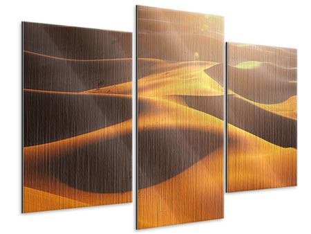 Metallic-Bild 3-teilig modern Wüstenwanderung