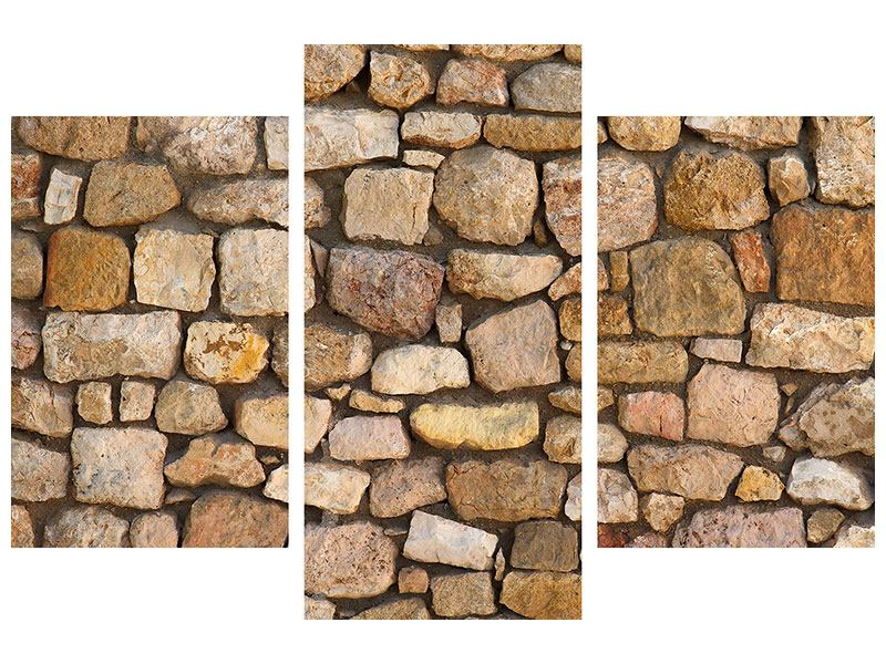 Metallic-Bild 3-teilig modern Alte Ziegel
