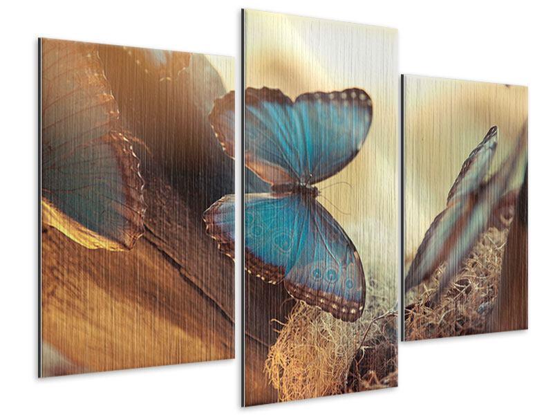 Metallic-Bild 3-teilig modern Schmetterlinge