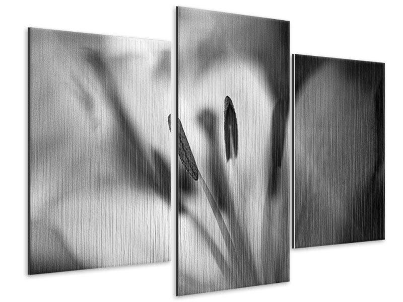 Metallic-Bild 3-teilig modern Makro Lilienblatt